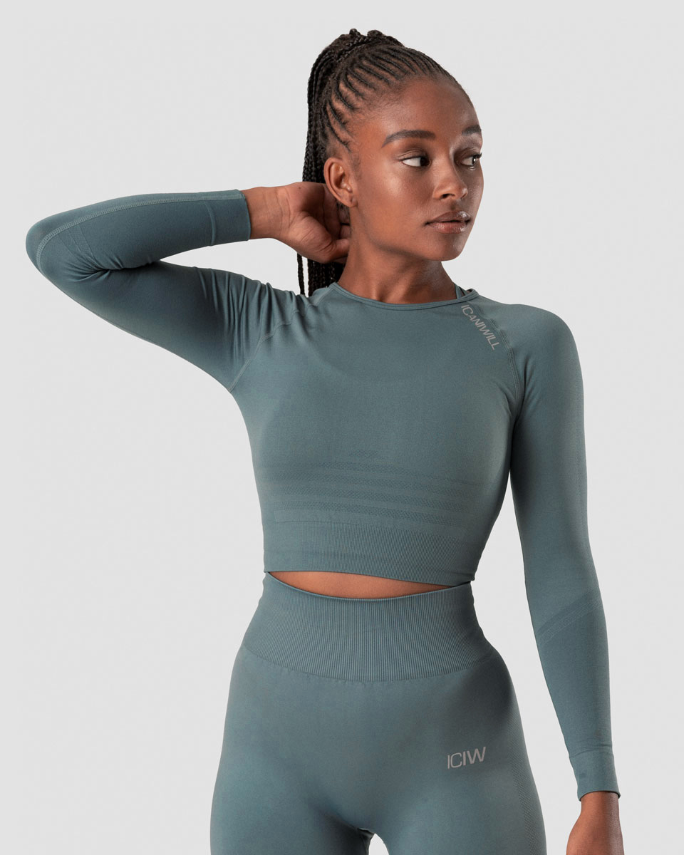 Define Seamless LS Crop Top Jungle Green Wmn