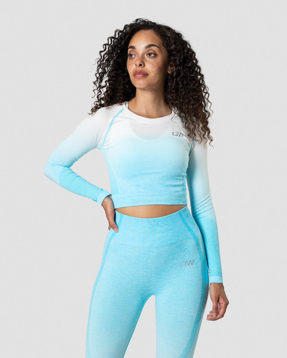 Ombre Seamless LS Crop Top Ocean Blue Wmn