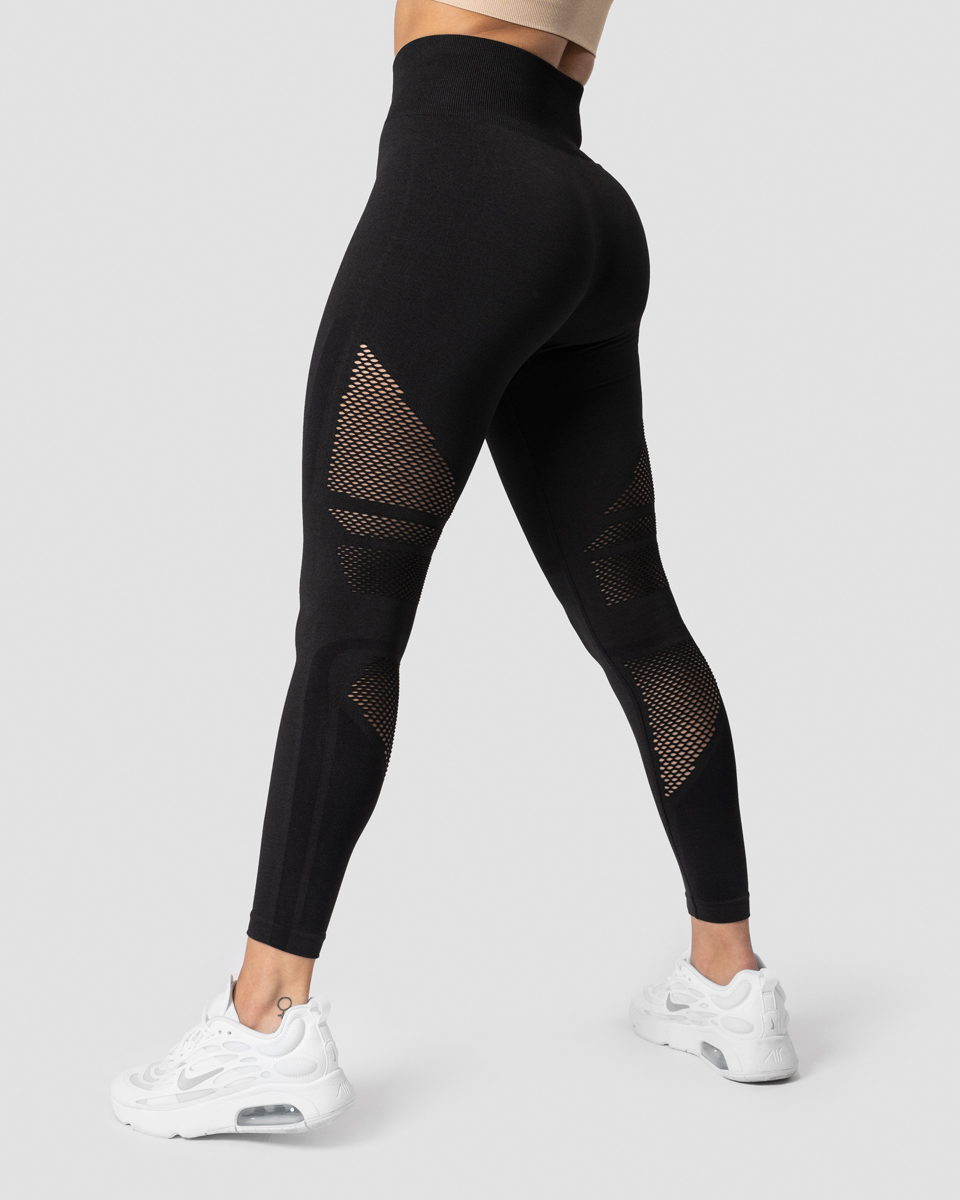 Queen Mesh Tights Solid Black Wmn