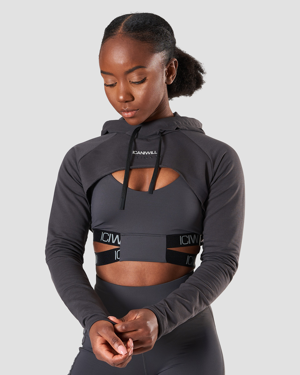 Ultimate Training Cropped Hoodie Graphite Wmn
