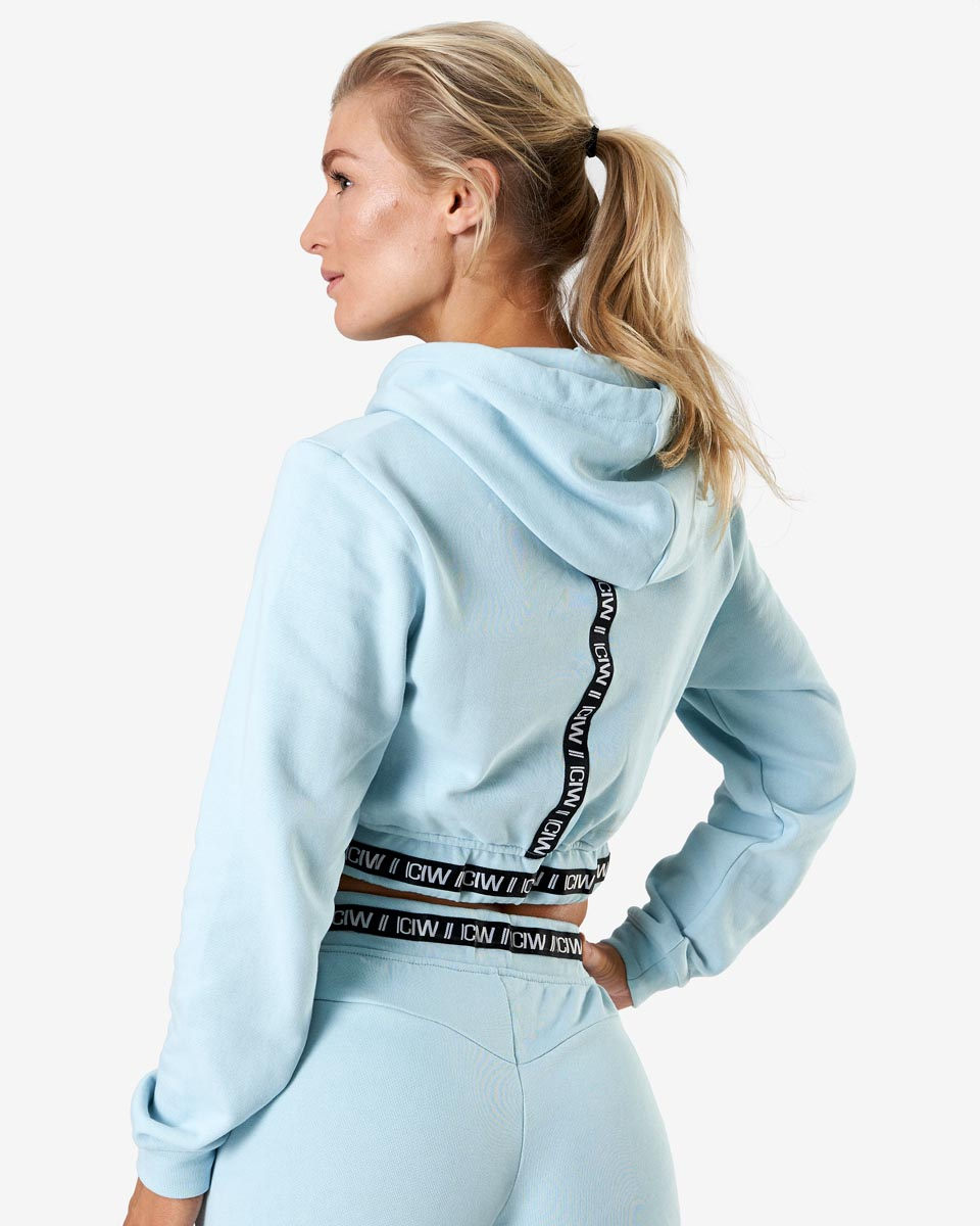 Chill Out Cropped Hoodie Dusty Blue Wmn | Shop online at ICANI